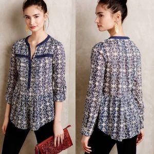 Anthropologie Maeve Abella Pintuck Blouse Size 4